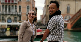 Vittoria Sposini and Samudrajit Thapa in Venice. | Photo: Dr. Fereydoon Taheri