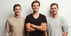 "The founders of ""Vly Foods"": Nicolas Hartmann, Niklas Katter, Moritz Braunwarth 