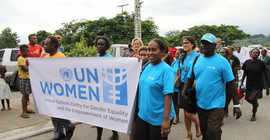 Demonstrierende beim Internationalen Frauentag 2014. Foto: Wikimedia/UN WOMEN Pacific