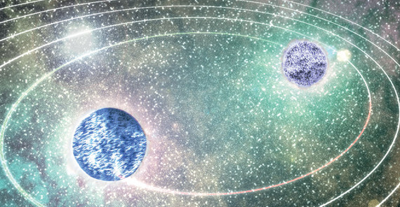 Artistic representation of two inspiralling neutron stars shortly before their collision. | Image credit: N. Moldenhauer