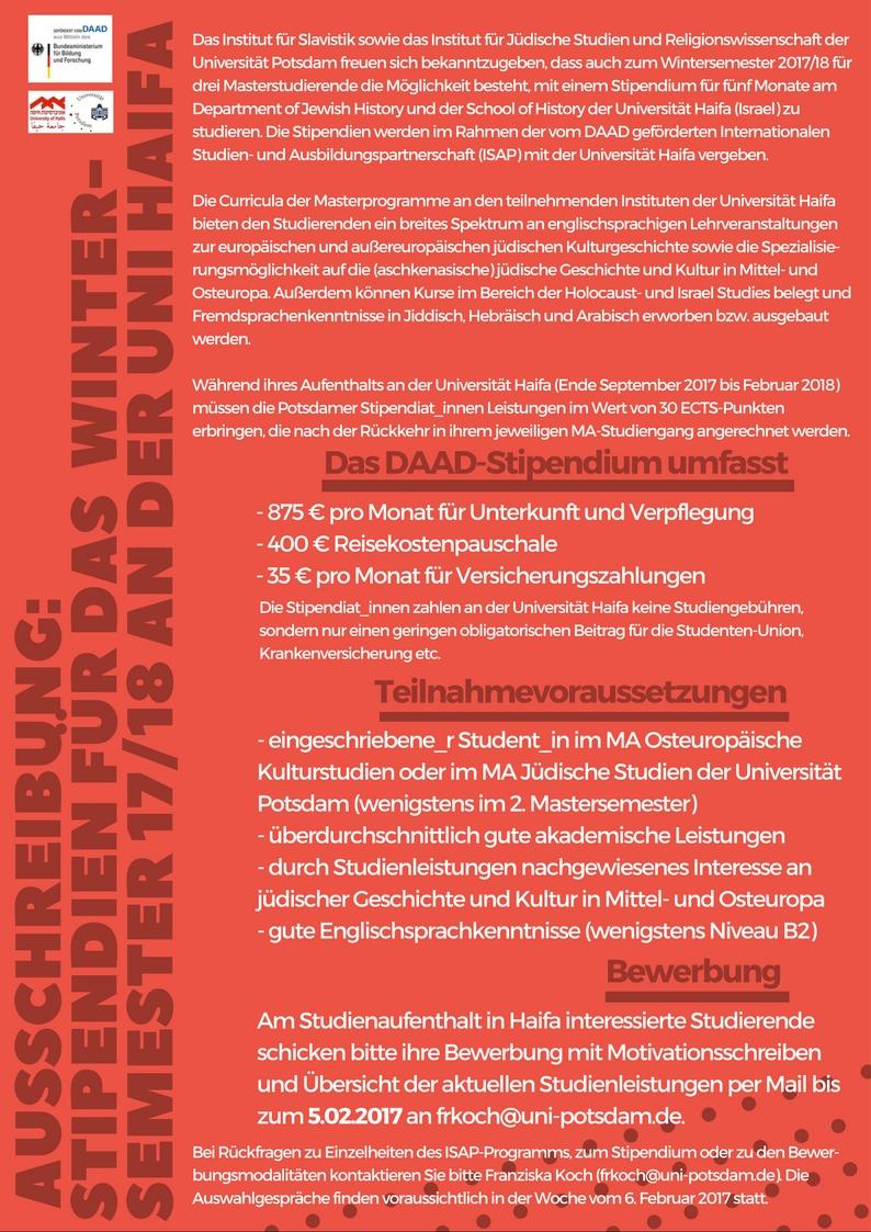 ausschreibung fr das wintersemester 201718 - Potsdam Uni Bewerbung