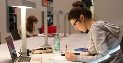 Student writing in the library; photo: Zessko