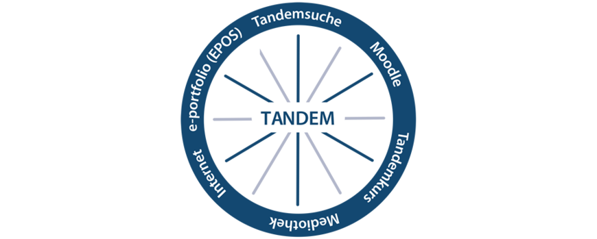 Image: Tandem Materials: tandem search, moodle, tandem course, media centers, internet