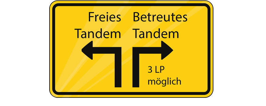 Graphic of Tandem Models: a street sign with pavement arrows as metaphor for the free and the supervised tandem (3 CPs (credit points) possible).