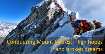 Mountaineers climbing the Mt. Everest in 2019