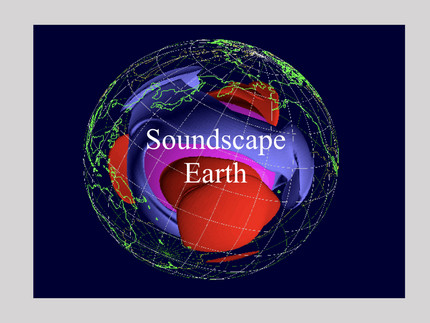Spatial distribution of seismic velocities within the Earth, superimposed by the label Soundscape Earth