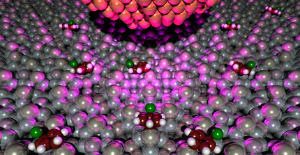 Artistic illustration of the STM manipulation of Chlorobenzene on a Si(11)-7x7 surface. Image: T. Klamroth