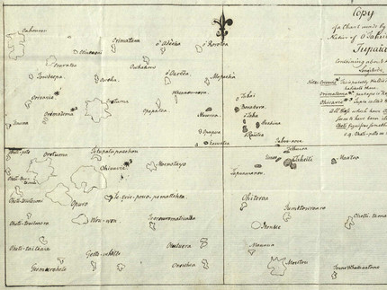 "Fig. 9.1. : ""Copy of a Chart made by […] Tupaïa"" by Georg Forster, 1776, Stadtarchiv Braunschweig, H III 16–87."
