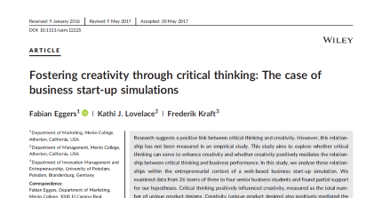 Doktorand Frederik Kraft veröffentlicht Artikel im Creativity & Innovation Management Journal