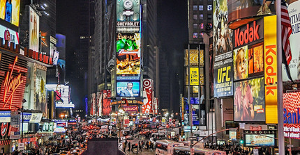 Times Square in New York bei Nacht