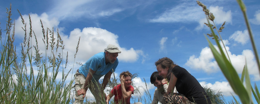 Research team in a Namibian grassland