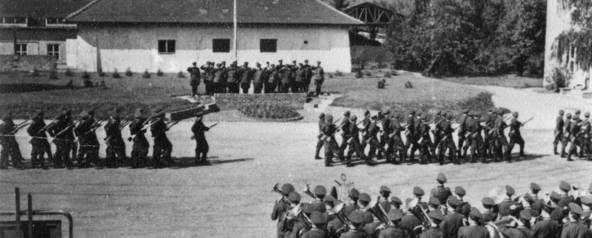 Military ceremony for graduates in 1957