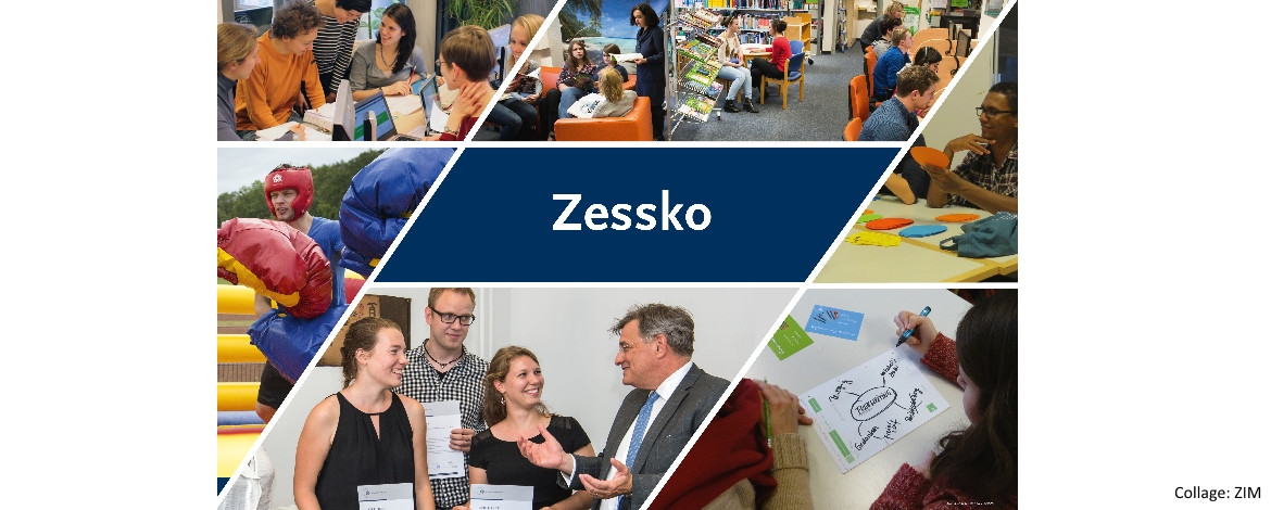 Collage of visual impressions revolving around the Zessko wordmark; image: ZIM