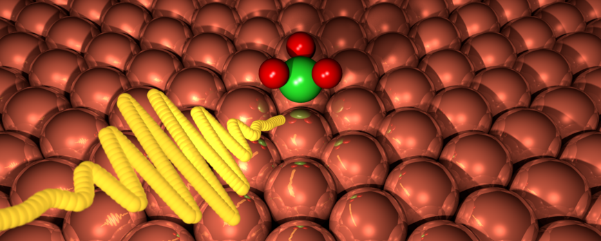 An artistic visualization of a laser pulse hitting an ammonia molecule adsorbed on a Cu(111) surface