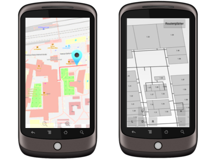 The picture shows a route planner on a mobile terminal optimized for the visually impaired.