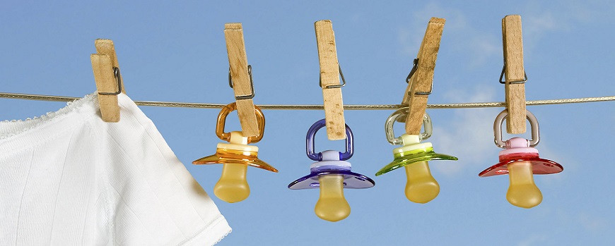 pacifiers on a clothesline