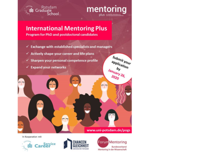 The current poster for the Mentoring Plus programme: a woman in business attire is at the centre, her shadow draws the picture of a superheroine with a cape, plus some key information on the programme