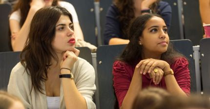 Students in a lecture hall; photo: Karla Fritze