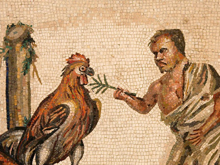 Dwarf with a cock mosaic