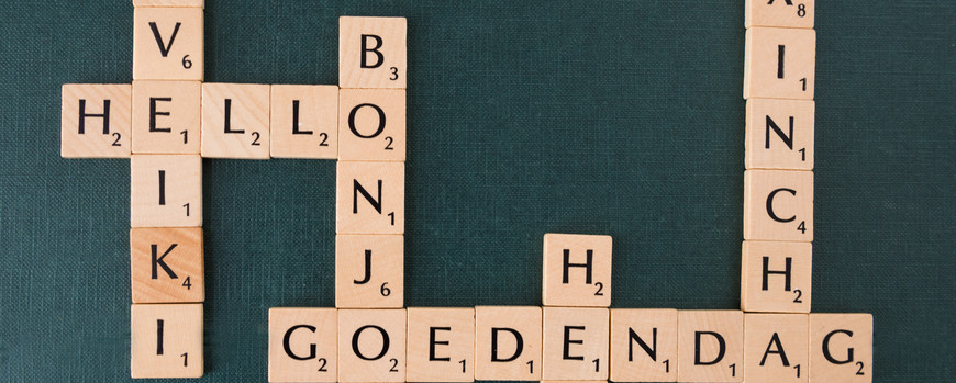 "Scrabble-words ""welcome"" in various languages"